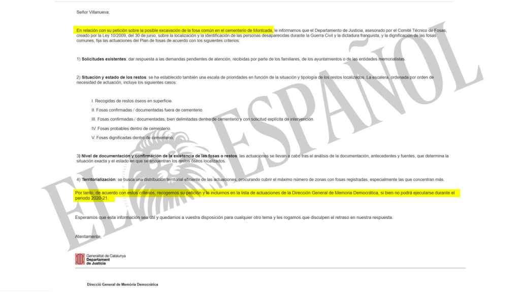 Respuesta de la Generalitat a la Asociación Reivindicativa de la Memoria Histórica Raíces.