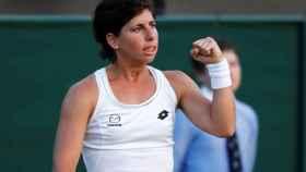 Carla Suárez durante un partido de Wimbledon