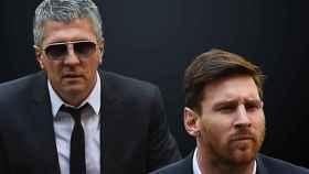 Jorge Messi, padre de Leo, y el aún jugador del Barça en una imagen de archivo