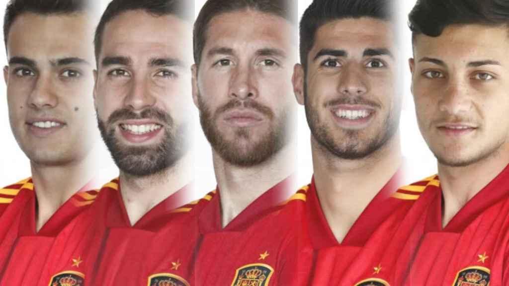 Sergio Reguilón, Dani Carvajal, Sergio Ramos, Óscar Rodríguez y Marco Asensio