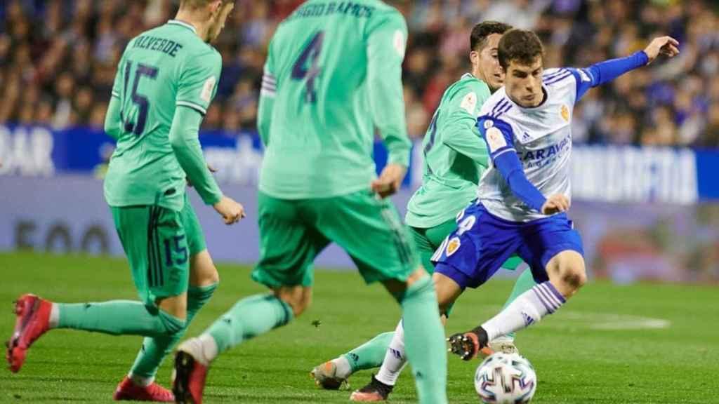Alberto Soro, durante el Real Zaragoza - Real Madrid de la Copa del Rey 2019/2020