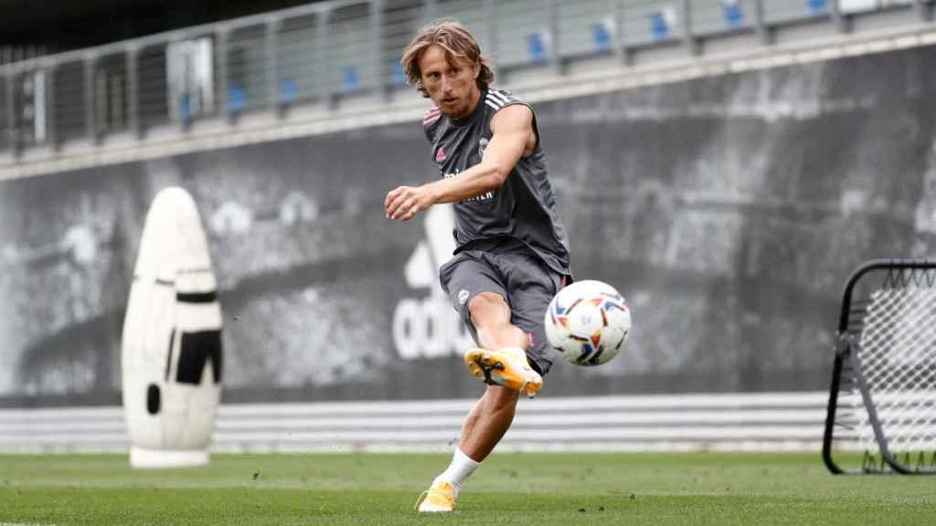 Modric durante un entrenamiento del Real Madrid