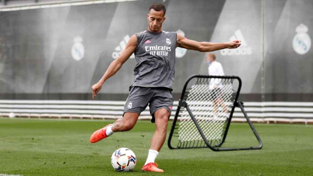 Lucas Vázquez durante un entrenamiento del Real Madrid