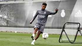 Rodrýgo durante un entrenamiento del Real Madrid