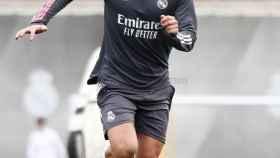 Borja Mayoral durante un entrenamiento del Real Madrid