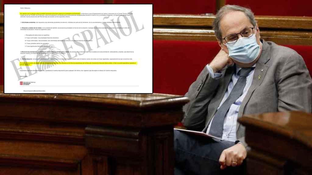 El presidente de la Generalitat, Quim Torra, exhumará una fosa de víctimas de la retaguardia republicana a petición de una asociación franquista.