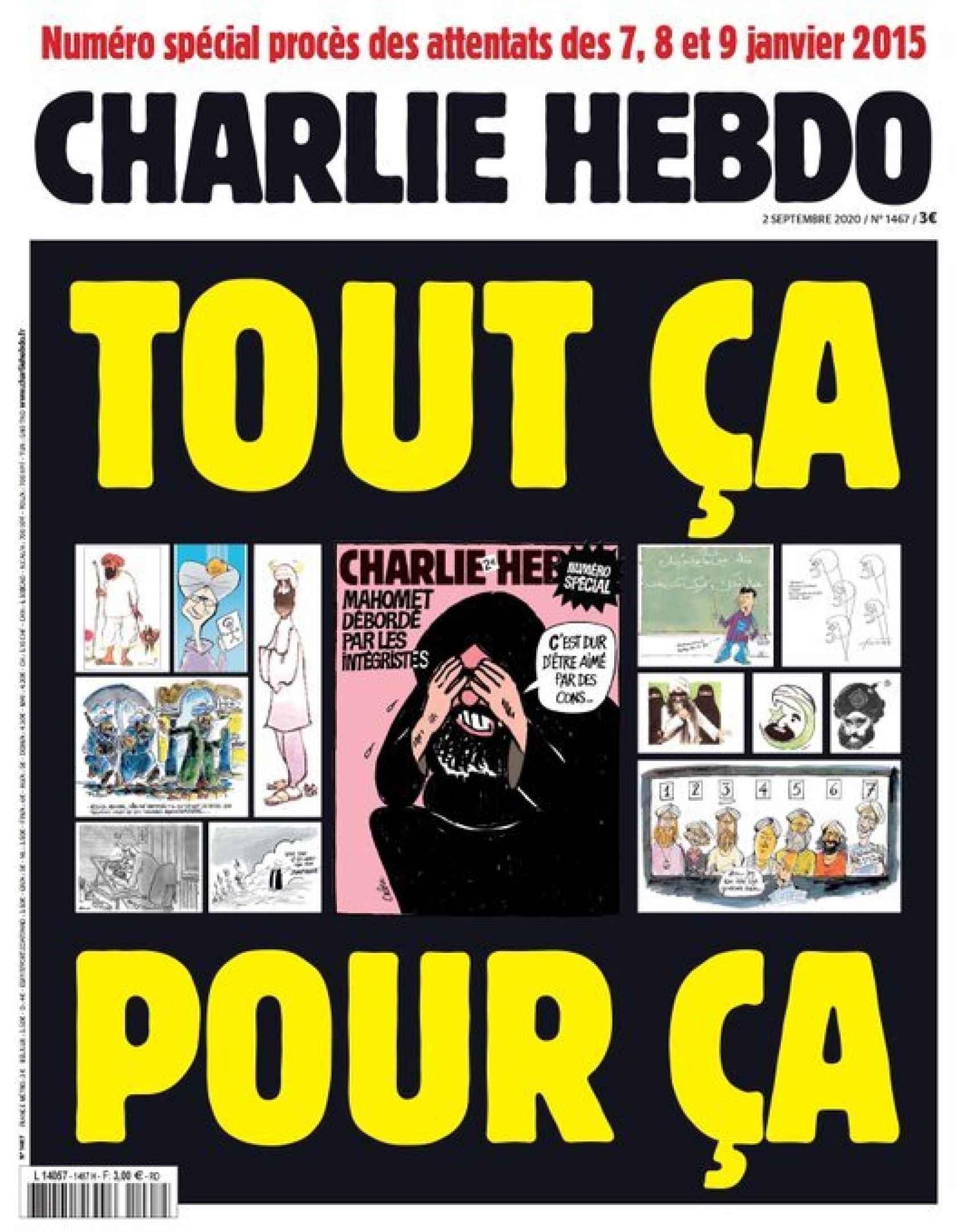 Portada de Charlie Hebdo en la que recuperó las caricaturas de Mahoma.