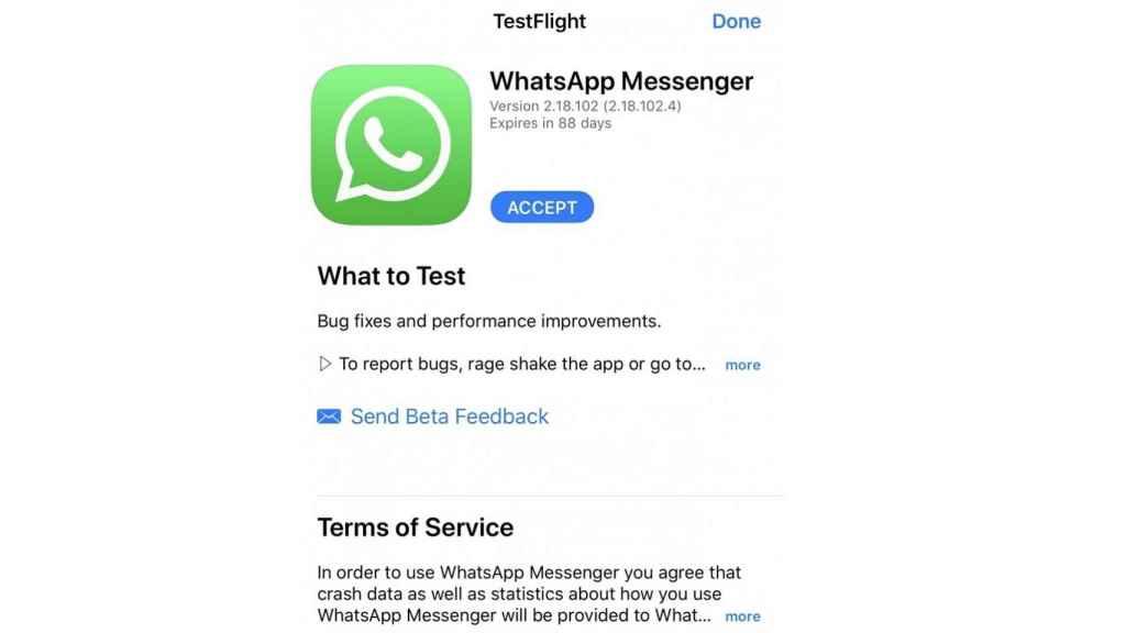 Página de WhatsApp beta en iOS
