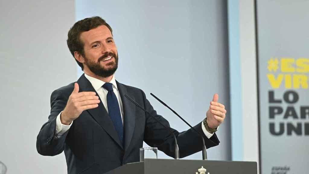 Pablo Casado, durante una rueda de prensa en Moncloa.