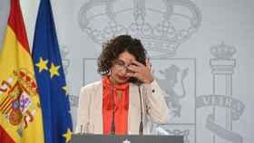 La portavoz del Gobierno, María Jesús Montero durante la rueda de prensa.