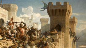 Un contingente de hospitalarios defendiendo las murallas de Acre.