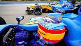 Fernando Alonso y Fisichella con el Renault 2005