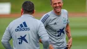 Luis Enrique, durante un entrenamiento de la selección española de fútbol