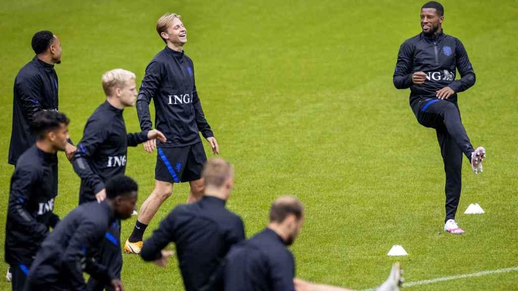 Frenkie de Jong y Georgino Wijnaldum, con la Selección de Holanda