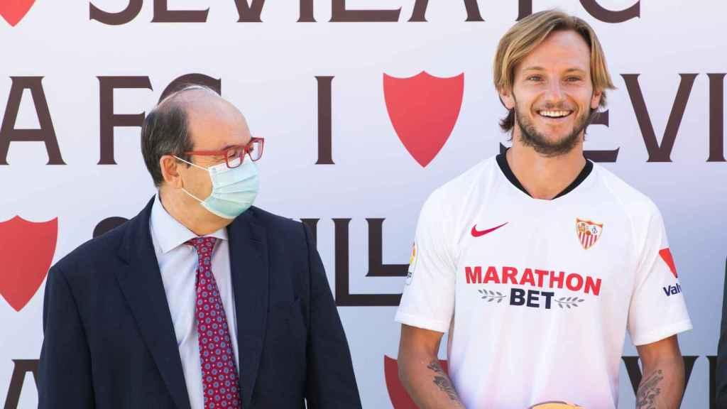Pepe Castro, durante la presentación de Ivan Rakitic como nuevo jugador del Sevilla