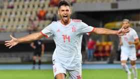 Hugo Duro celebra un gol con la Selección Sub21