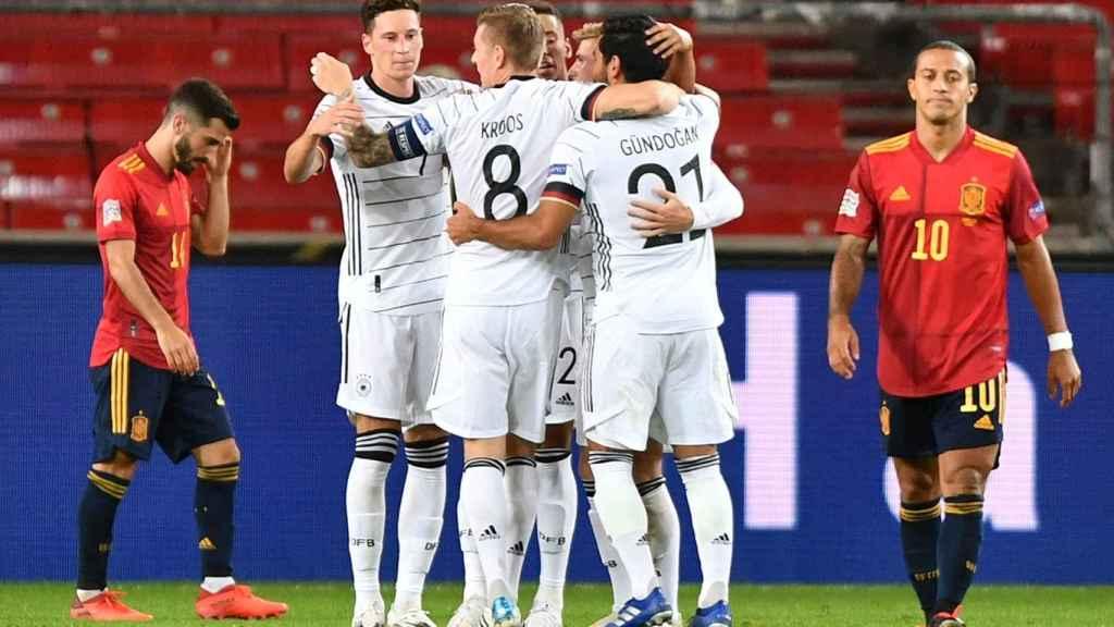 Alemania celebra el gol de Werner contra España