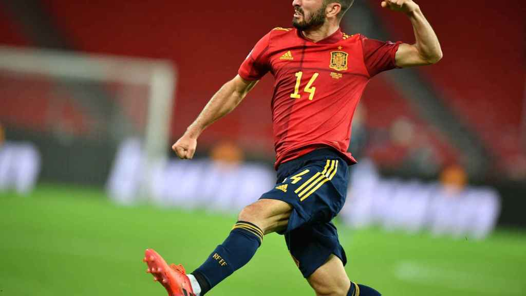 Gayà celebra su gol con España