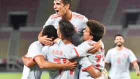 La Sub21 celebra el gol de Hugo Duro ante Macedonia