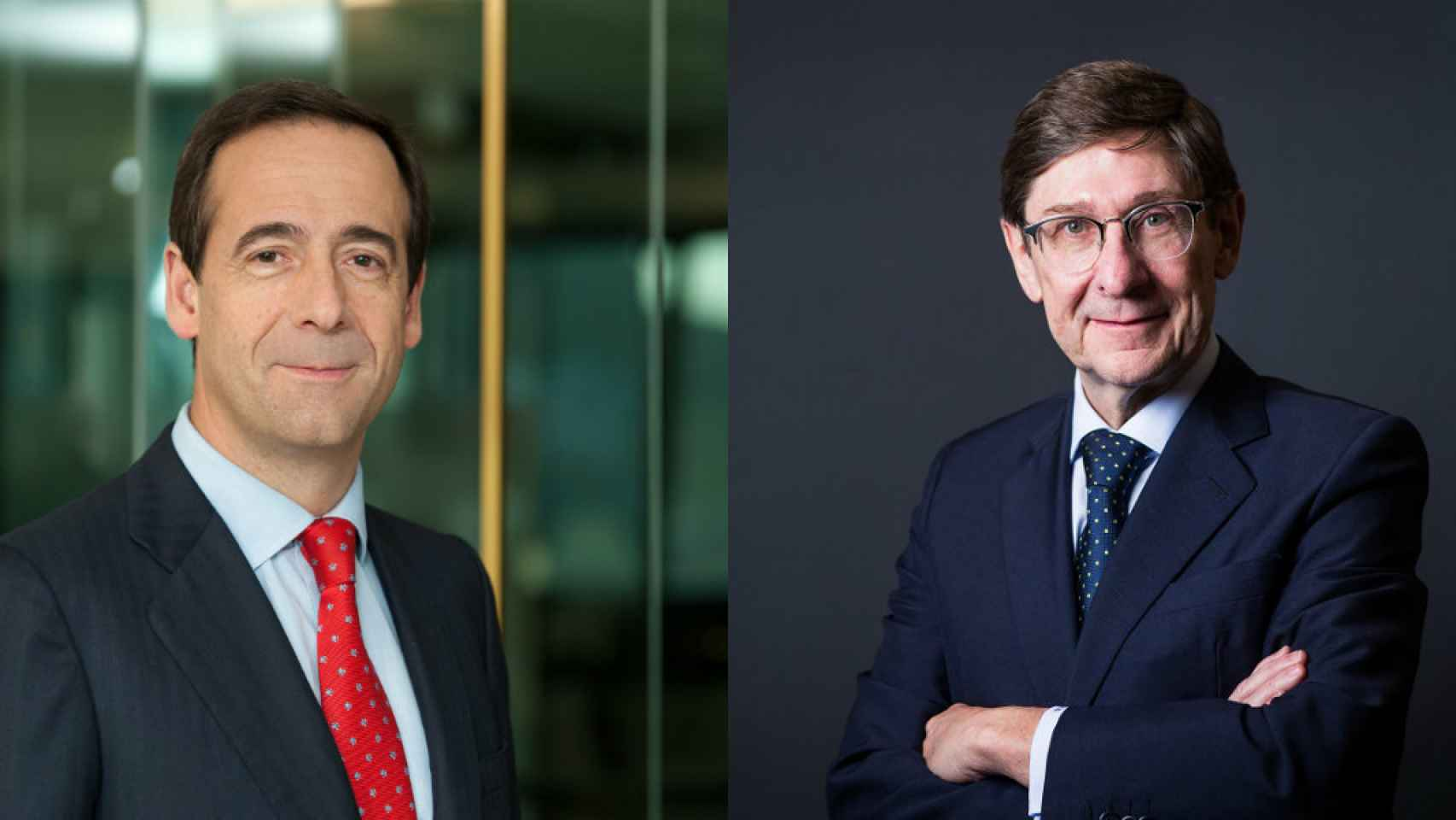 El consejero delegado de CaixaBank, Gonzalo Gortázar y el presidente de Bankia, José Ignacio Goirigolzarri.