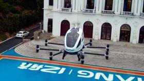 Coche volador de EHang Technology que se probará en Sevilla