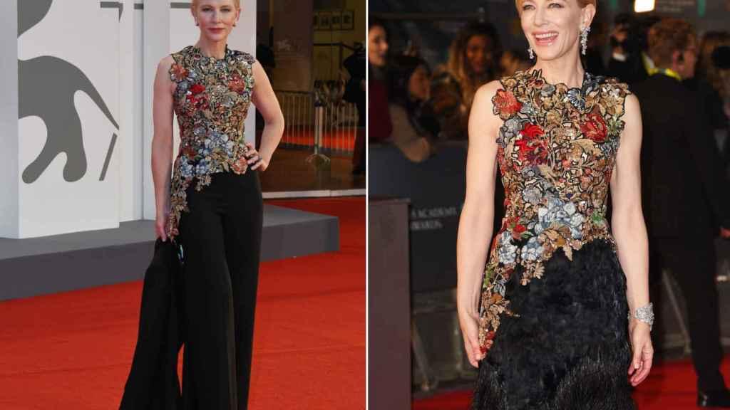 Cate Blanchett también lució el mismo 'top' que llevo en 2016 (derecha)