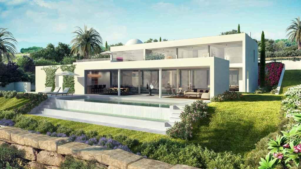 Imagen de una Villa Golfside en la exclusiva urbanización Finca Cortesin.