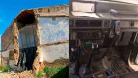 Un cuartel y el interior de uno de los vehículos empleados en la zona rural.