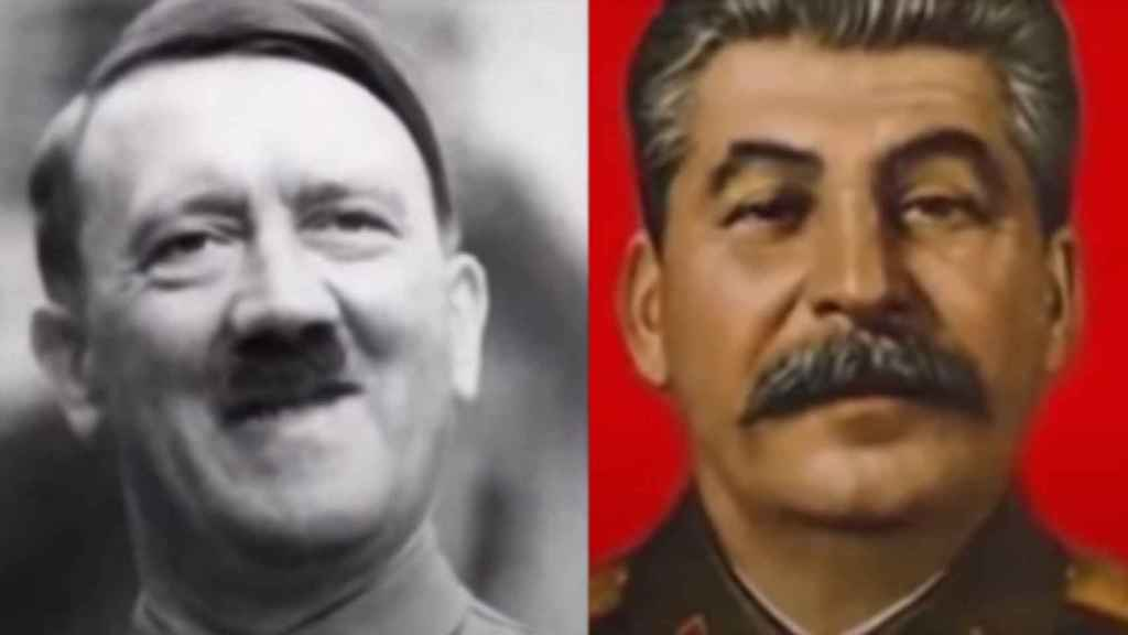 Hitler y Stalin a pantalla partida en el vídeo viral.