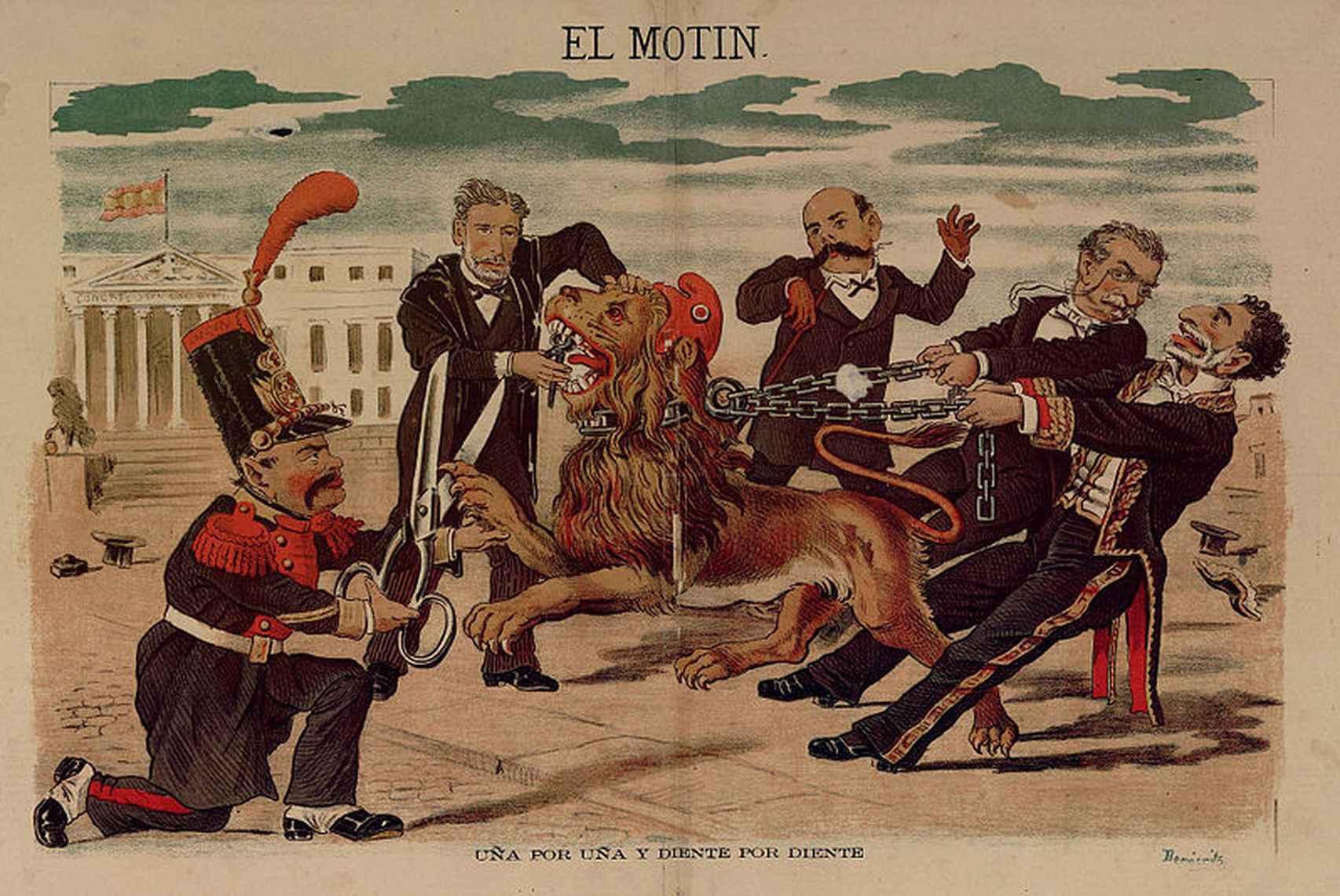 Caricatura de Eduardo Sojo en El Motín, publicada el 16 de octubre de 1881. De izquierda a derecha: Becerra, Montero Ríos, Castelar, Cánovas y Sagasta.