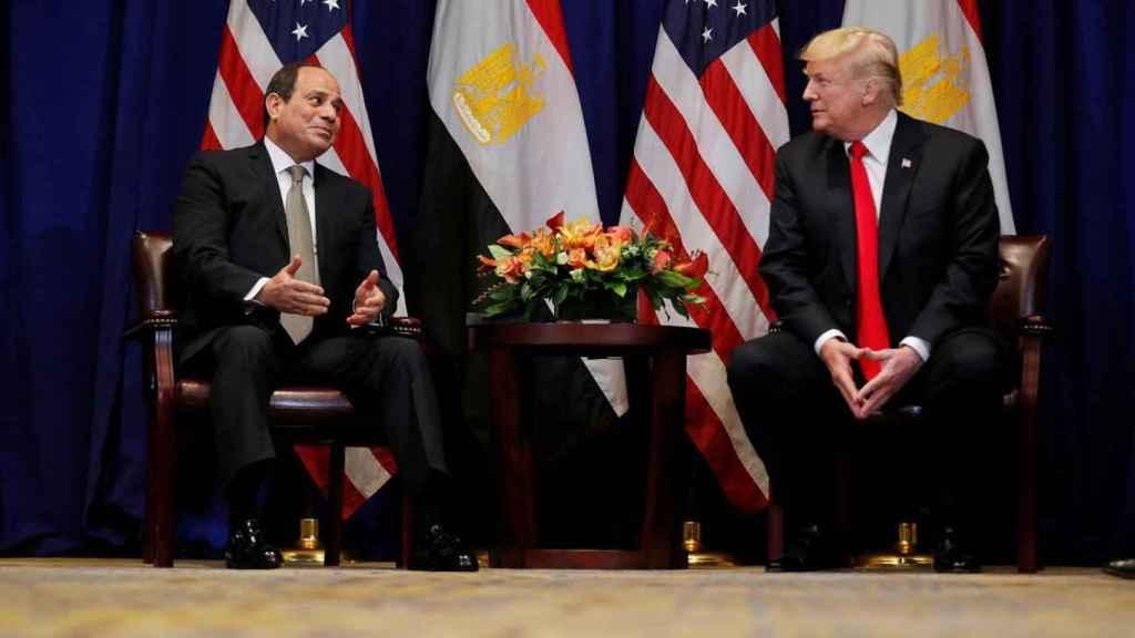 El presidente egipcio, Abdelfatah al Sisi, y Donald Trump durante una reunión en Nueva York.