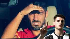 Luis Suárez en su coche y Álvaro Morata en un fotomontaje
