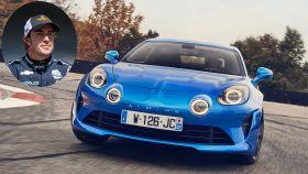 El último Alpine desarrollado, el modelo A110, en un montaje junto a Fernando Alonso.