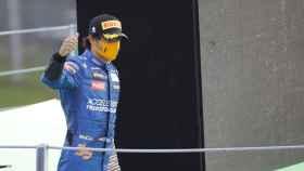 Carlos Sainz Jr, en el podio de Monza
