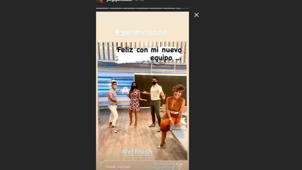 Storie de  Instagram subido por Jorge Pérez junto a Miguel Ángel Nicolás, Isabel Rábago y Sonsoles Ónega.