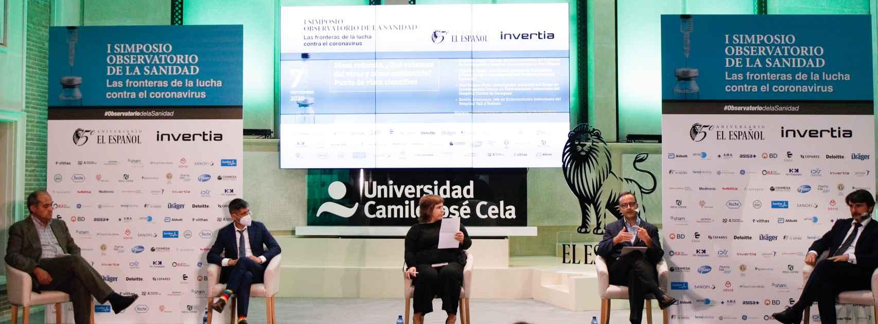 Benito Almirante, Eduardo López-Collazo, Ainhoa Iriberri, José Ramón Paño y Cristóbal Belda durante la mesa '¿Qué sabemos del virus y cómo combatirlo? El punto de vista de los científicos'.