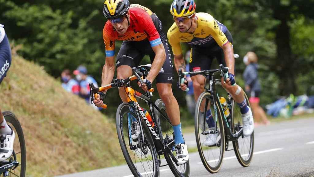 Mikel Landa y Primoz Roglic en la última etapa del Tour