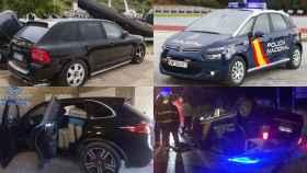 A la izquierda, coches usados por los narcos del sur de España para atentar contra los vehículos policiales (derecha).