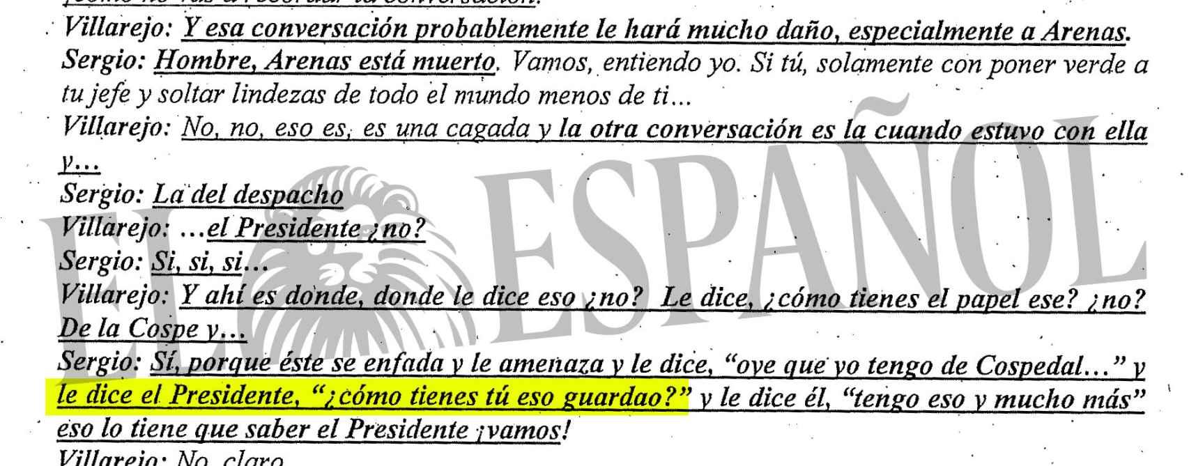 Uno de los extractos de las llamadas intervenidas a Villarejo.