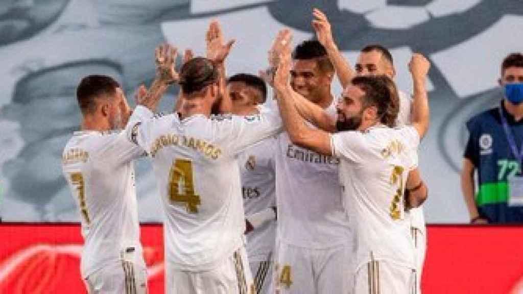 Los jugadores del Real Madrid celebran un gol la pasada temporada