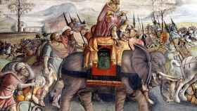 Parte de un fresco del Palazzo del Campidoglio que representa a Aníbal cruzando los Alpes.