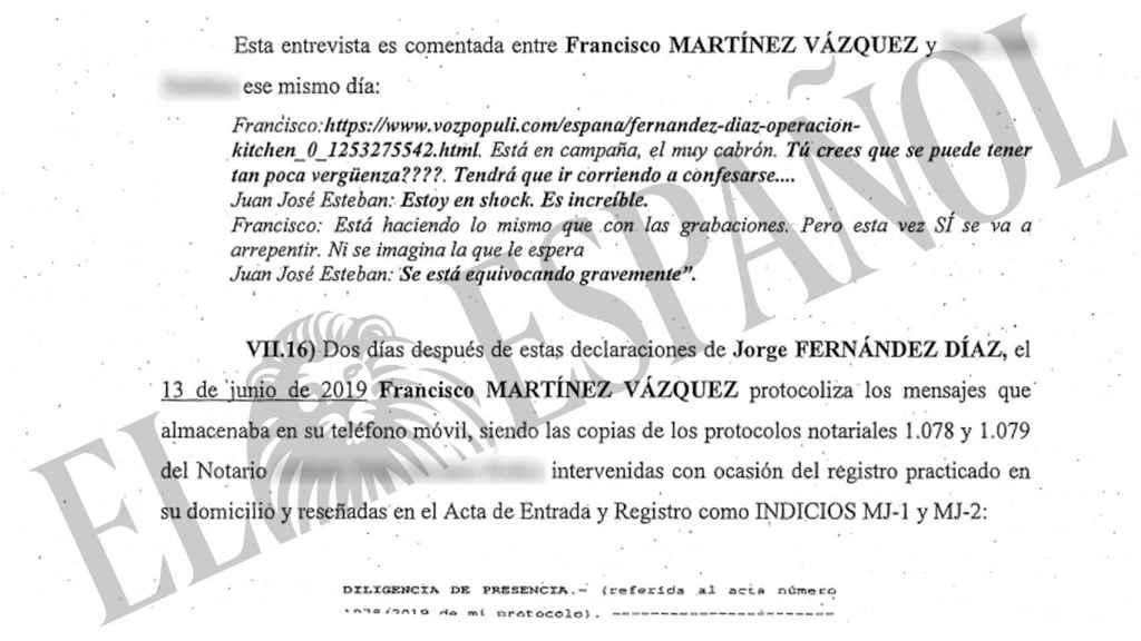 La mano derecha de Fernández Díaz validó ante notario los SMS que implicaban al ministro.