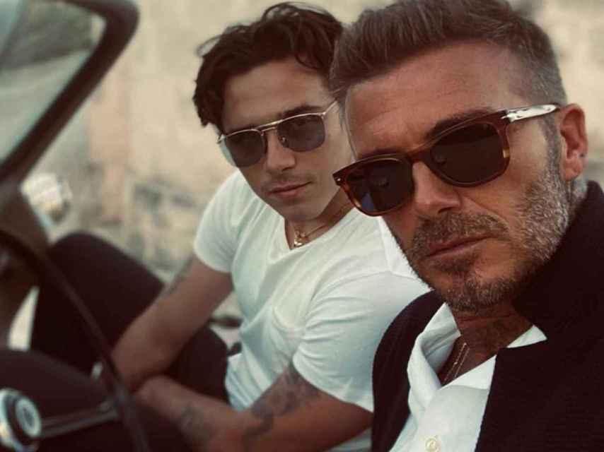 Brooklyn y David Beckham, en Italia.