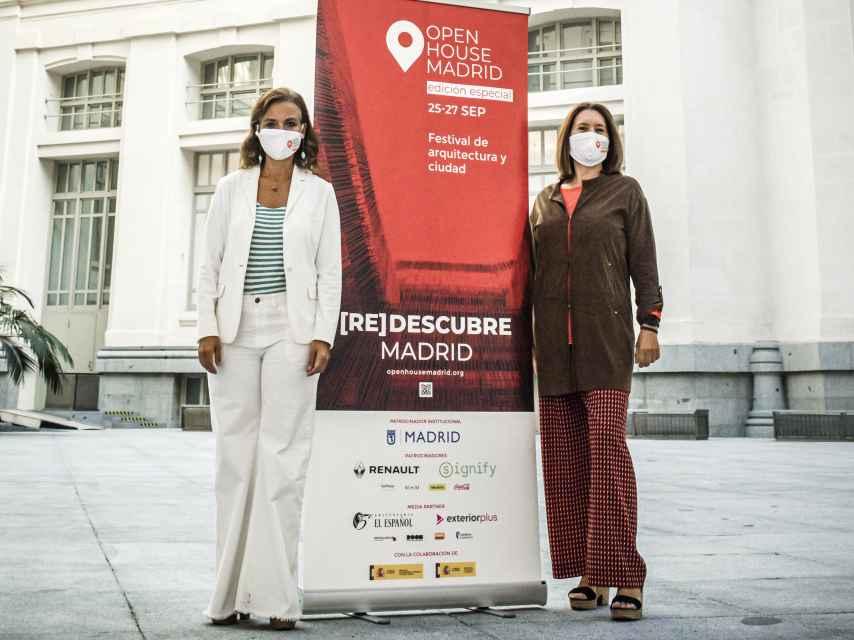 La concejala delegada de Turismo del Ayuntamiento de Madrid, Almudena Maíllo, junto a Paloma Gómez Marín, cofundadora y codirectora de Open House Madrid.