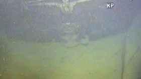 Fotografía del barco alemán hundido por los británicos.