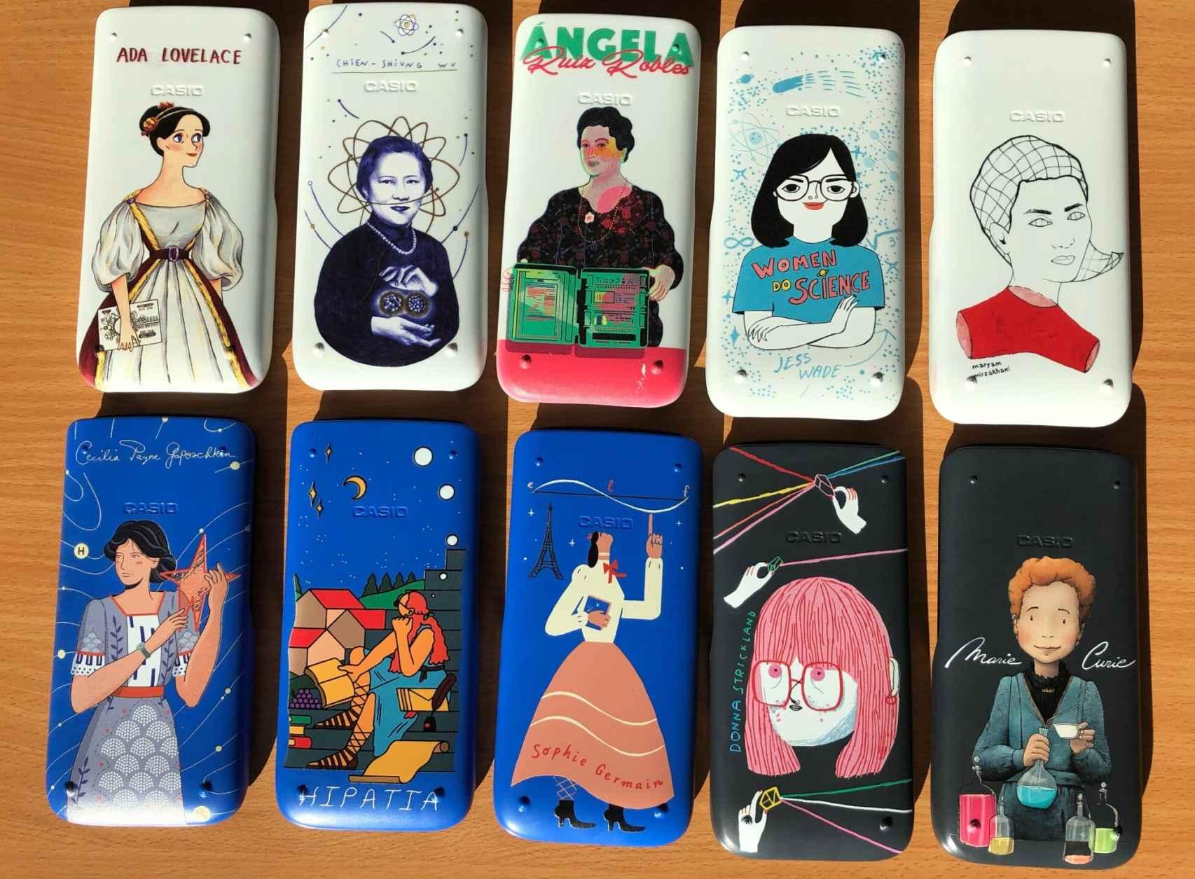 Diez de las doce carcasas disponibles de Mujeres en la Ciencia, de Casio.