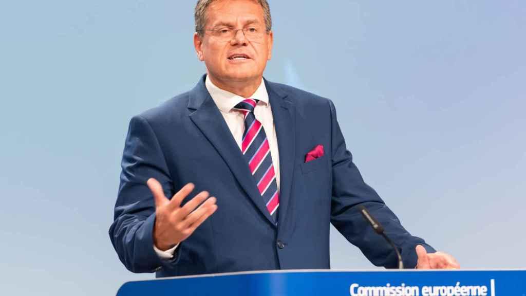 El vicepresidente de la Comisión, Maros Sefcovic, durante la rueda de prensa de este miércoles