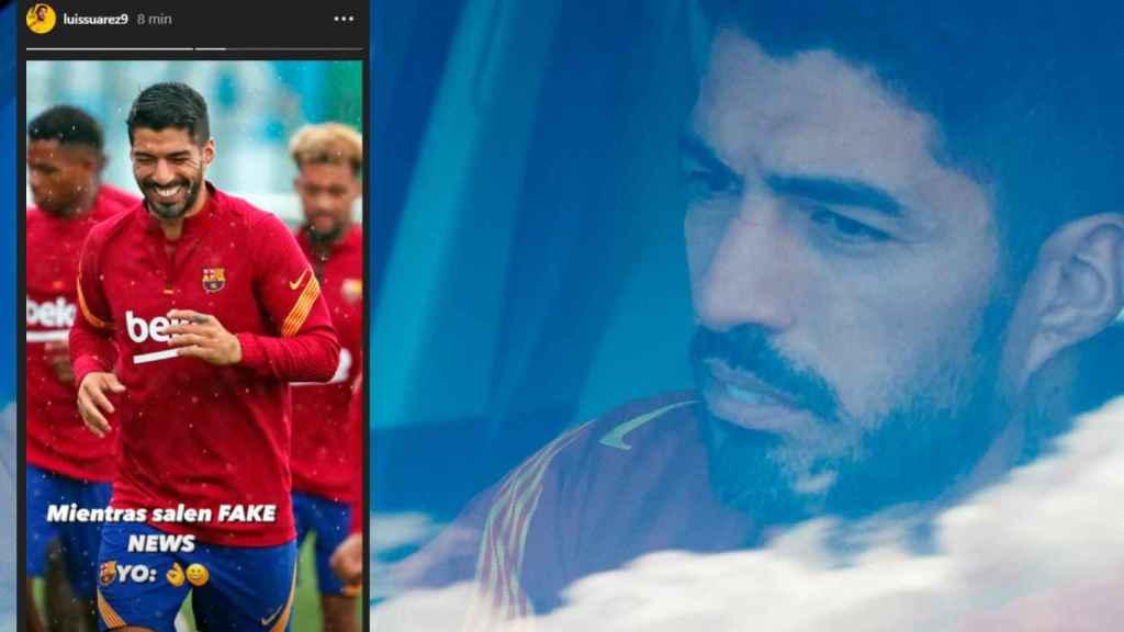 Luis Suárez en su coche y su mensaje en Instagram en un fotomontaje