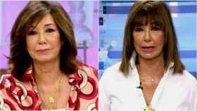 A la izquierda, Ana Rosa Quintana en su último día de trabajo antes de las vacaciones. A la derecha, la presentadora el día de su regreso.