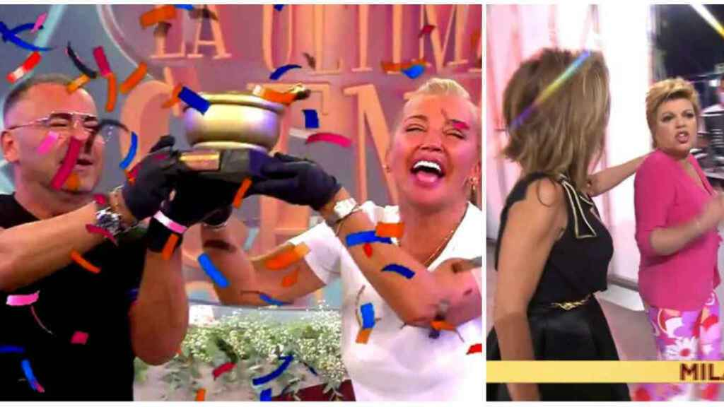 Belén Esteban y Jorge Javier Vázquez disfrutando de tu triunfo en 'La última cena' mientras que Terelu Campos abandonaba el plató.